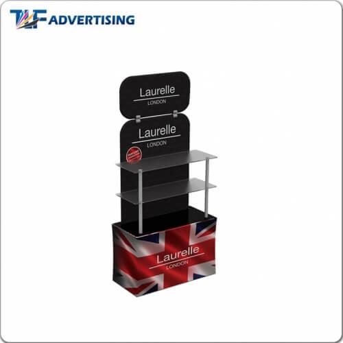 acrylic board shelf teion fabric backwall display rack display
